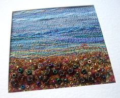 Autumn landscape  stitched beaded card  fabric by StitchMikki