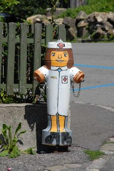Painted fire hydrants as a part of a street ...