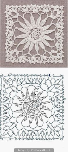 Crochet Patterns Lace Wonderful crochet lace square ~~ wipe out . Crochet Motif Patterns, Crochet Blocks, Square Patterns, Crochet Diagram, Crochet Chart, Crochet Squares, Thread Crochet, Love Crochet, Irish Crochet