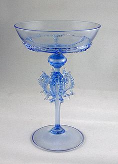 Venetian/Murano glass antique drinking glasses (set of 42). Very fine glasses are all hand made by hand. The blue is a typical color of the 1920's.