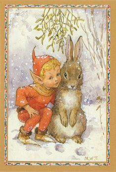 An Elf and Bunny Christmas by Margaret W. Tarrant English illustrator specializing in depictions of fairy-like children and religious subjects. Vintage Greeting Cards, Vintage Christmas Cards, Christmas Images, Christmas Tag, Vintage Postcards, Christmas Fairy, Bunny Art, Flower Fairies, Christmas Illustration