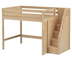 ENORMOUS full size High loft bed with Stairs natural by Maxtrix kids furniture #diybedframesforteens #kidfurniture
