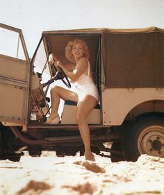 Marilyn looking sporty in Land Rover.