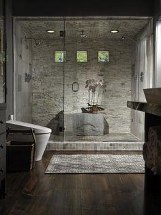 Stone Shower Bathroom Design Ideas, Pictures, Remodel and Decor Bad Inspiration, Bathroom Inspiration, Bathroom Ideas, Shower Bathroom, Frameless Shower, Shower Doors, Small Bathroom, Master Shower, Spa Shower
