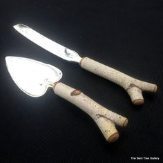 Wedding Cake Cutlery Birch Cake Server and by TheBentTreeGallery