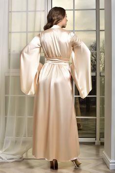 Lace Bridal Robe, Wedding Lingerie, Satin Dressing Gown, Wedding Kimono, Retro Lingerie, Lace Kimono, Bridesmaid Robes, Ao Dai, Underwear