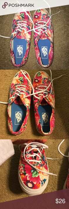 women's Vans sneakers Floral / tropical print :) barely ever worn -- practically no signs of wear :) Vans Shoes Sneakers