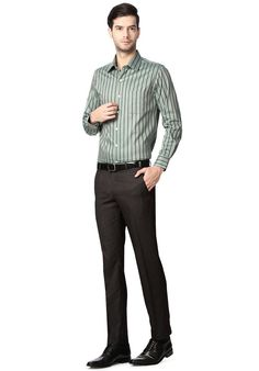 722601d436e Good colour combination of striped shirt Mens Formal Pants