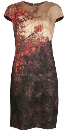 AKRIS  Brown Tree Print Dress