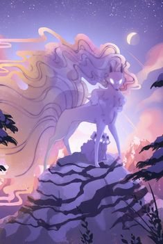 Ninetales Pokemon, Alolan Vulpix, Pokemon Mew, Pokemon Fan Art, Ghost Pokemon, Pokemon Fusion, Cute Fantasy Creatures, Mythical Creatures Art, Pet Anime