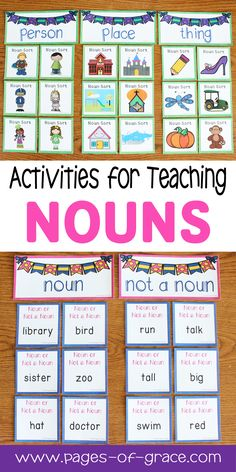 Are you looking for some fun activities for teaching nouns? This unit is full of engaging worksheets, games, and center activities that will help your students master common nouns. It includes 4 posters for bulletin boards, 8 worksheets, 3 centers, and a set of 24 task cards. Great for first grade, second grade, and advanced kindergarten. Add some fun to your grammar time with these activities! Click on the picture to see the detailed description.