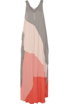 Halston Heritage|Color-block chiffon maxi dress|NET-A-PORTER.COM