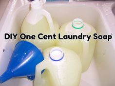 diy one cent liquid laundry detergent 1/2 bar of Fels Naptha Bar Soap 1 cup of Borax 1 cup of Washing Soda A big stock pot, big spoon, several gallon jugs  1. Grate half of the bar of soap. 2. Put the soap in a stockpot and pour in one gallon of water. 3. Cook until the soap is dissolved. Add Borax & washing soda. 4. Bring to a boil. Turn off the heat.  Add 1 1/2 gallons of cold water. 5.Put containers in the sink to fill them. Liquid when its warm.  Congeals as it cools.