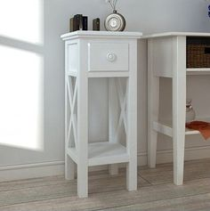 Small Telephone Table Side Hall Bedside Phone Stand With Storage Drawer White