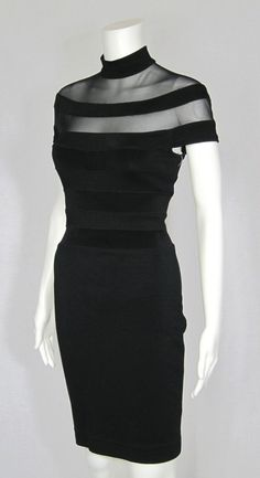 Vintage Lillie Rubin Black Stretch Body Con Wiggle Dress For Sale… Sheer Dress, Dress Up, Body Con Dress, Look Fashion, Womens Fashion, Mein Style, Mode Chic, Glamour, Wiggle Dress