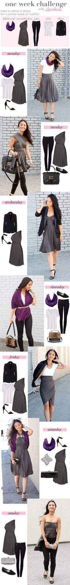 An entire WEEK of outfits can be remixed from only 5 clothing items! Just pick a mix of basics and convertible clothing. Then accessorize! Great outfits for work to weekend and day to night!
