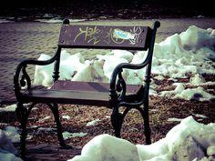 #budapest #bench #snow #Dobrentei #square