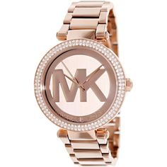 A glitzy bezel brings sparkle to the Parker women's watch by Michael Kors. Decorated with a logo design on the dial, this trendy timepiece features a rose goldtone bracelet with a secure push-button deployment clasp.