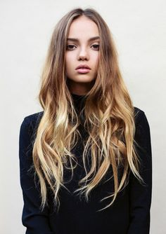 Naturally wavy long hair with subtle ombre
