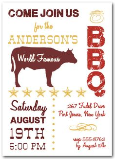 World Famous Beef BBQ Party Invitations, Barbecue Invitations