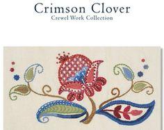 pdf download - CRIMSON CLOVER crewel work pattern