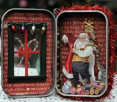 Christmas - Christmas Tin - Art Journal - Altered Treasures - Assemblage Finds - By Amy Rozeboom