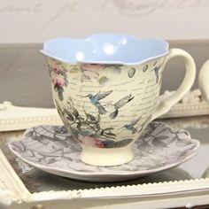The Aviary Hummingbird Tea Cup and Saucer