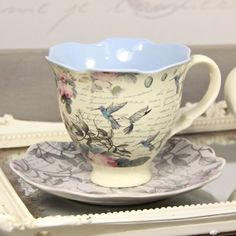 The Aviary Hummingbird Tea Cup and Saucer - for Mel