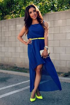 Love her high-low dress and color blocking!