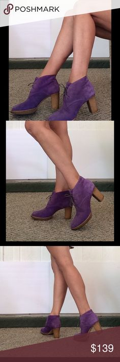 PAUL SMITH SUEDE ANKLE BOOTS Super sumptuous purple suede chunky heel boots. Lace up style only worn a few times. Stacked polyurethane heel for all day comfort. Full leather interior. Absolutely stunning! Paul Smith Shoes Ankle Boots & Booties