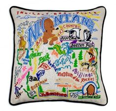 Decorate your home with beautiful #statepillows by #Catstudio. Buy this wonderful#HomeDecor from TabulaTua. #Montana