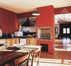 Essa é a cozinha dos sonhos, onde a churrasqueira está integrada. Assim você pode assar uma carne e ainda fazer aquele arrozinho.