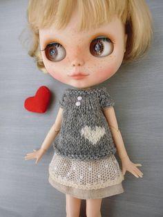 Blythe Pull Coeur jacquart  tricoté main  Valentine's