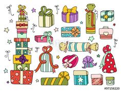 "Download the royalty-free vector ""Set of cute doodle gifts boxes for your designs (birthday party, wedding celebration). Collection of cartoon presents with hearts, stars, bow, ribbon. Hand drawn vector isolated on white."" designed by sapunkele at the lowest price on Fotolia.com. Browse our cheap image bank online to find the perfect stock vector for your marketing projects!"