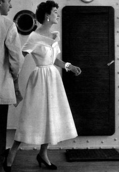 1953 Elinor in white pique dress with wide collar by Christian Dior, Paris Vogue