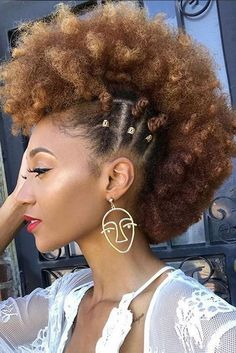 Cute Curly Mohawk Styles For Black Females 3 Braided Hairstyles, Cool Hairstyles, Natural Mohawk Hairstyles, Mohawk On Natural Hair, Hairstyle Ideas, Short Afro Hairstyles, Hairstyles 2016, African Hairstyles, Wedding Hairstyles