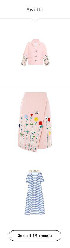 """Vivetta"" by weareav98 ❤ liked on Polyvore featuring outerwear, coats & jackets, vivetta, skirts, bottoms, pink knee length skirt, crochet skirt, multi color skirt, pink striped skirt and wrap skirt"