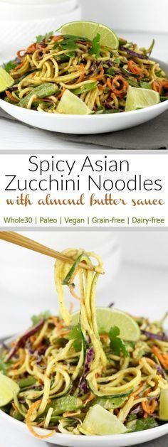Spicy Asian Zucchini Noodles with Almond Butter Sauce This chilled 'noodle' salad packed with crunchy veggies features a creamy almond butter dressing with a spicy kick. Serves 3 as a side dish or 2 as an entree with your protein of choice P Veggie Recipes, Real Food Recipes, Vegetarian Recipes, Cooking Recipes, Healthy Recipes, Vegan Zoodle Recipes, Vegetarian Tapas, Keto Recipes, Paleo Salad Recipes
