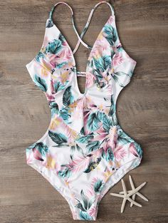 Plunging Neck Floral Print Bodysuit - M Cute One Piece Swimsuits, Bodysuit, Ruffles, Cute Bathing Suits, Swimming Costume, Bikini Swimwear, Beach Fashion, Fashion Sale, Gothic Fashion