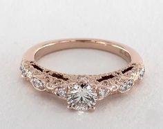 .5ct Vintage Round Engagement Ring Rose Gold