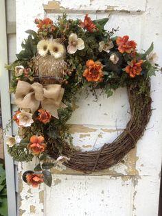 Fall wreath for door autumn wreath with burlap by FlowerPowerOhio, $139.00