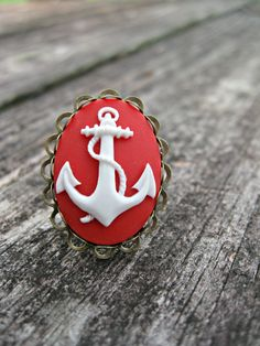 Nautical Inspired Red Anchor Ring, $8.00
