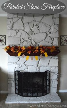 Painted Stone Fireplace DIY #DIY #Budget #homedecor- You'll be amazed by the before and after photos. Addicted 2 Savings 4 U