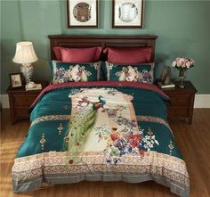 Queen King Size Printed Bedding Set Bedclothes Home Textiles Peacock Pattern Quilt Cover + Bed Sheet + 2 Pillowcases Peacock Bedding, Peacock Pattern, Bedclothes, Textiles, Bird Design, Quilt Cover, Home Textile, Comforter Sets, Duvet Cover Sets
