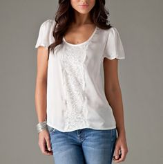Flutter Sleeve Shirt with Lace Inset