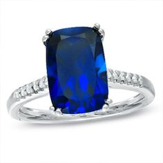 Lab-Created Cushion-Cut Blue Sapphire and Diamond Accent Ring in Sterling Silver