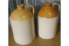 ANTIQUE/ VINTAGE - A pair of stoneware bottles by Port Dundas of Glasgow Pottery Co, one for rest