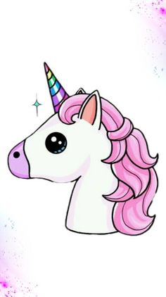 New Animated Unicorn Pictures Kawaii Girl Drawings, Cute Animal Drawings Kawaii, Cute Easy Drawings, Art Drawings Sketches Simple, Cartoon Drawings, Unicorn Drawing, Unicorn Art, Cute Unicorn, Unicorn Pictures Cartoon