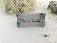 Oryginalna winietka ślubna  z kalką, tropikalne liście Place Cards, Place Card Holders, Alcohol