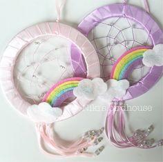 Rainbow Dreamcatcher with clouds - room decor for children